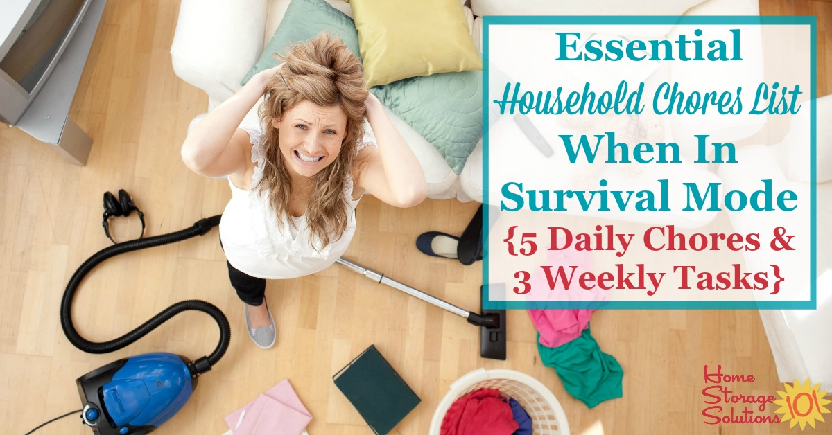 Essential Household Chores List When in Survival Mode {5 Daily Chores & 3 Weekly Tasks}