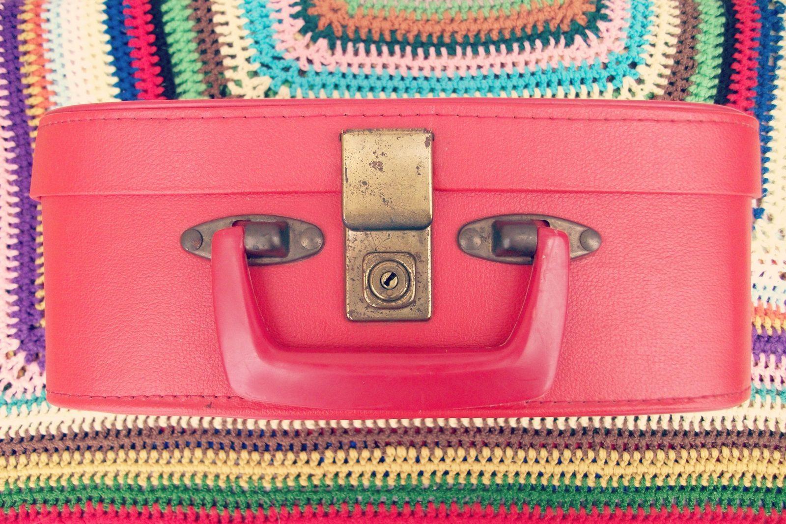 Suitcase into a shoe rack.