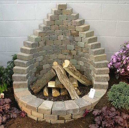 Vertically Stacked Brick Fire Pit