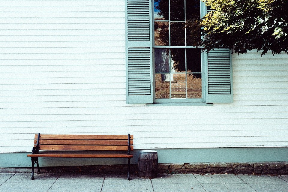Bench, Seat, House, Front, Sitting, Relax, Window
