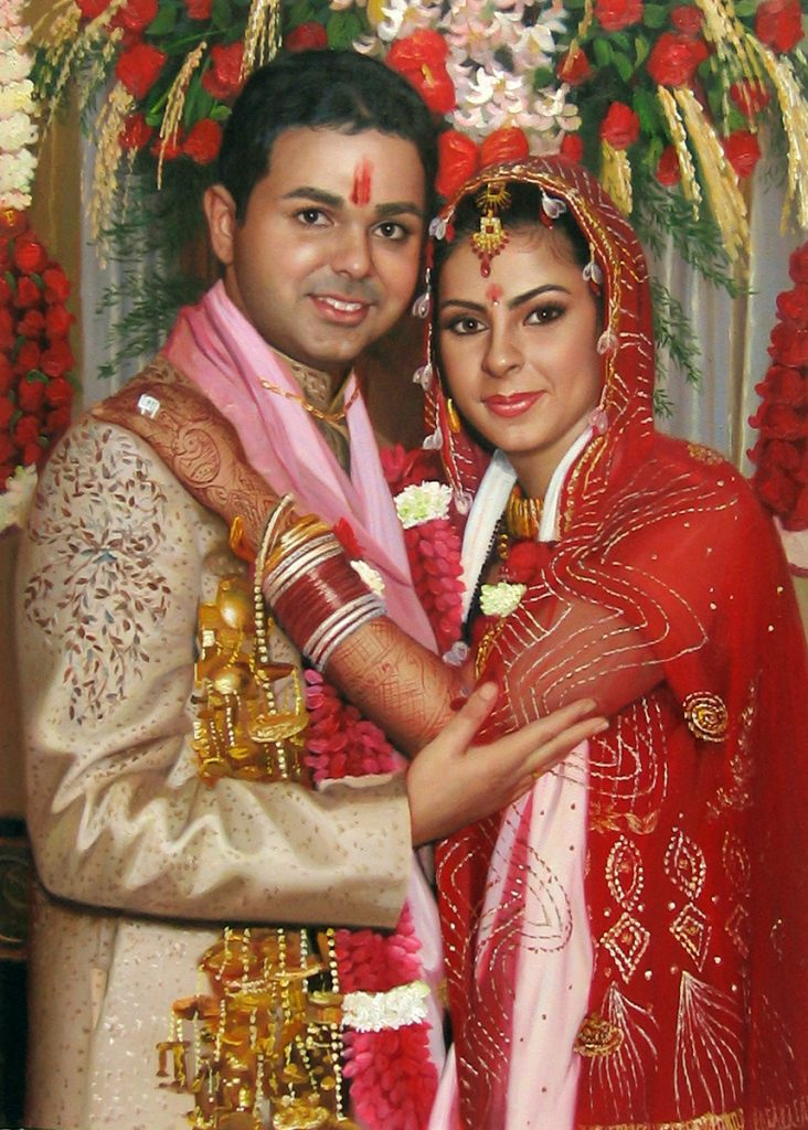 A bright custom canvas painting of an Indian couple on their wedding day done in oil paints.